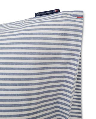 Blue/White Washed Striped Cotton Pillowcase