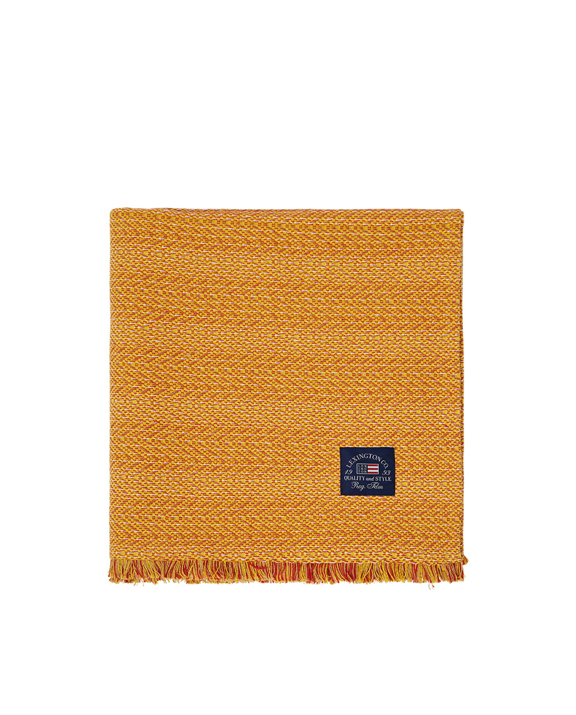 Herringbone Cotton Throw, Yellow