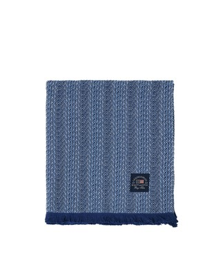 Herringbone Cotton Throw, Blue