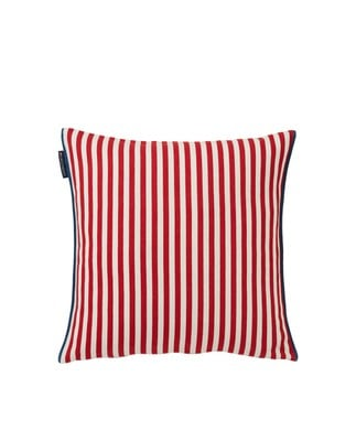 Striped Cotton Pillow Cover, Red/White
