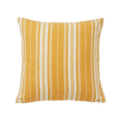 Cut and Sewn Cotton Pillow Cover, Yellow/White