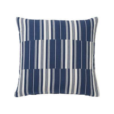 Cut and Sewn Cotton Pillow Cover, Blue/White