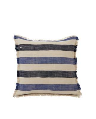Striped Cotton Linen Pillow Cover w Fringes, Blute/Beige