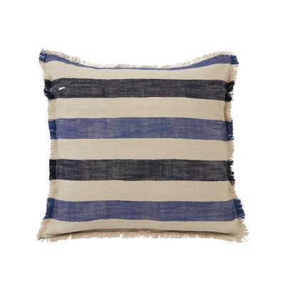 Striped Cotton Linen Pillow Cover w Fringes, Blute/Beige