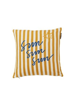 Sun Cotton Pillow Cover, Yellow/White