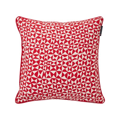 Coral Printed Cotton Pillow Cover, Red