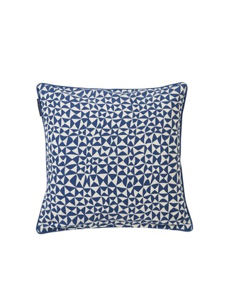 Coral Printed Cotton Pillow Cover, Blue