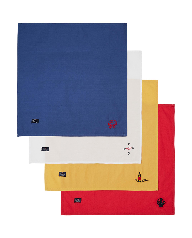Blue Sea Embroidered Cotton Napkin Set (Set of 4)