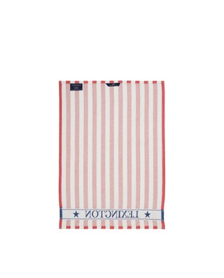 Striped Cotton Kitchen Towel, Red/White