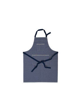 Striped Cotton Denim Apron, Blue/White