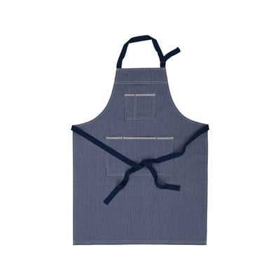 Striped Cotton Denim Apron, Bue/White
