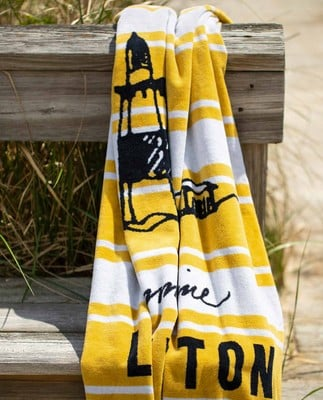 Graphic Cotton Velour Beach Towel, Yellow/White