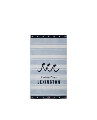 Graphic Cotton Velour Beach Towel, Lt Blue/White