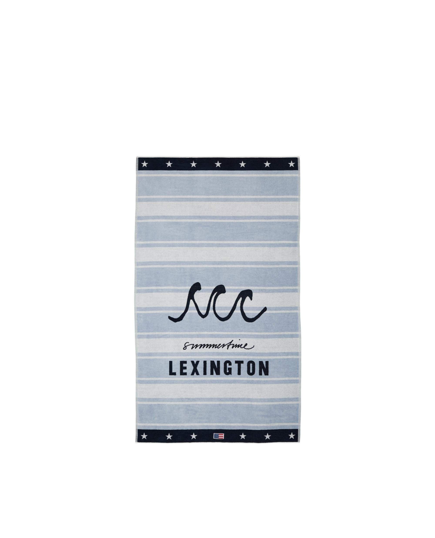 Graphic Cotton Velour Beach Towel, Lt Blue/White 100x180