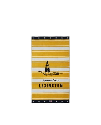 Graphic Cotton Velour Beach Towel, Yellow/White 100x180