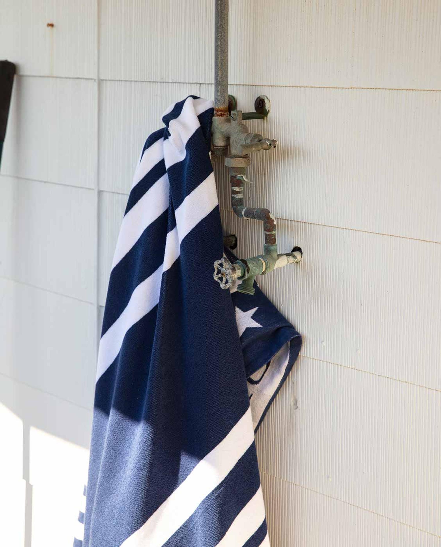 Graphic Cotton Velour Beach Towel, Blue/White 100x180