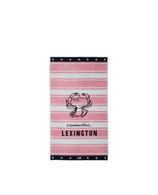 Graphic Cotton Velour Beach Towel, Pink/White 100x180