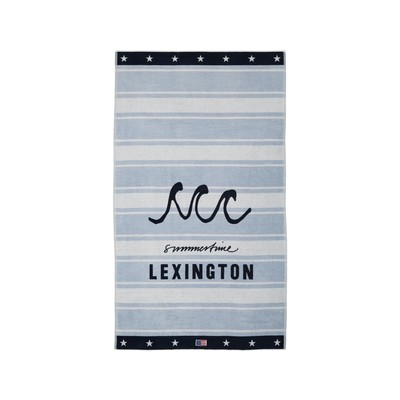 Graphic Cotton Velour Beach Towel, Lt Blue/White