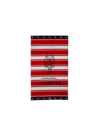 Graphic Cotton Velour Beach Towel, Red/White 100x180