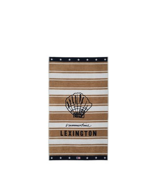 Graphic Cotton Velour Beach Towel, Beige/White 100x180