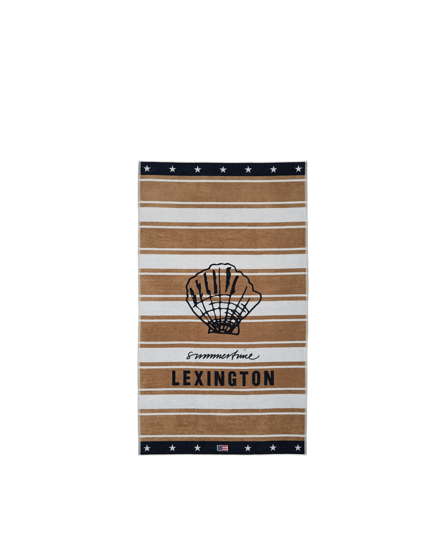 Graphic Cotton Velour Beach Towel, Beige/White 100x180