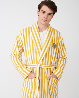 Striped Cotton-Mix Terry Robe, Yellow/White