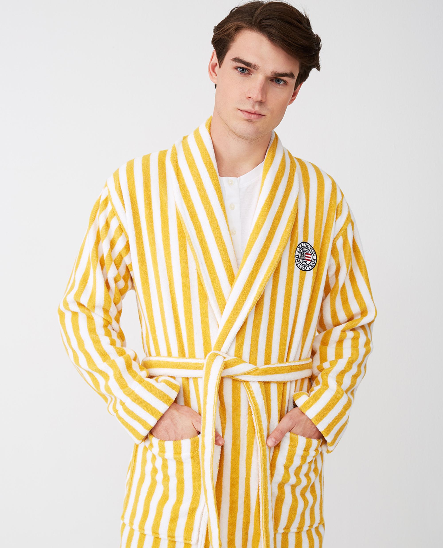 Striped Cotton-Mix Terry Robe, Yellow/White