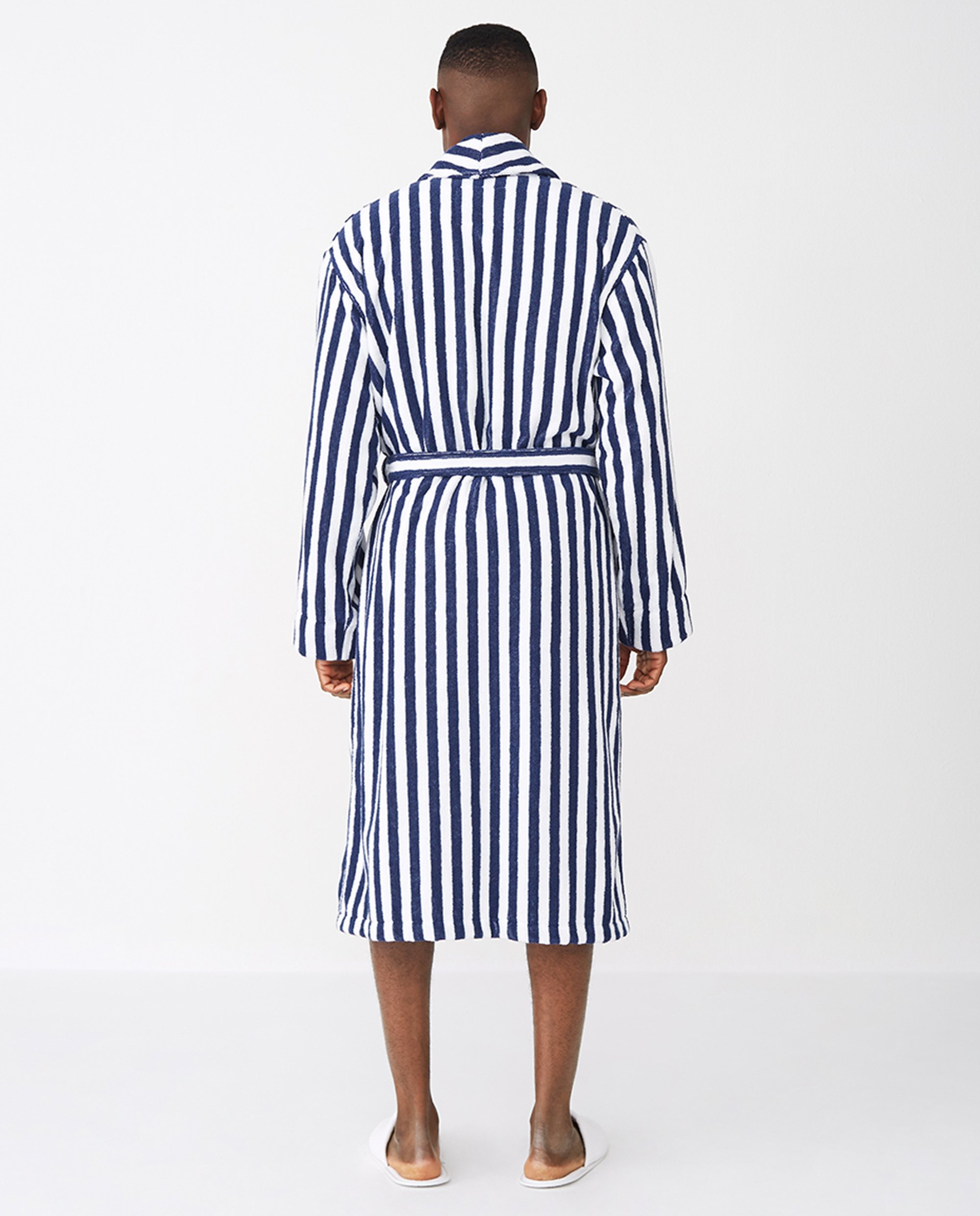 Striped Cotton-Mix Terry Robe, Blue/White