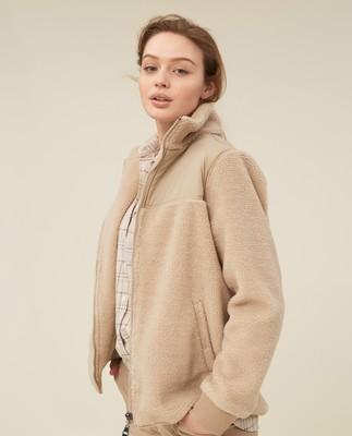 Sammie Sherpa Wool Blend Jacket, Beige