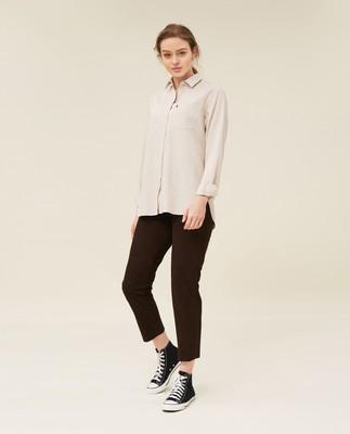 Isa Lt Flannel Shirt, Light Beige Melange