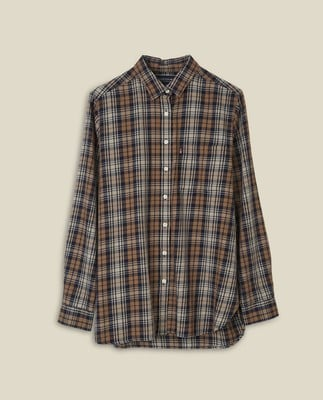 Isa Check Organic Cotton Flannel Shirt, Blue Multi