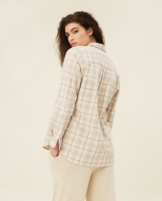 Isa Check Organic Cotton Flannel Shirt, Beige Multi