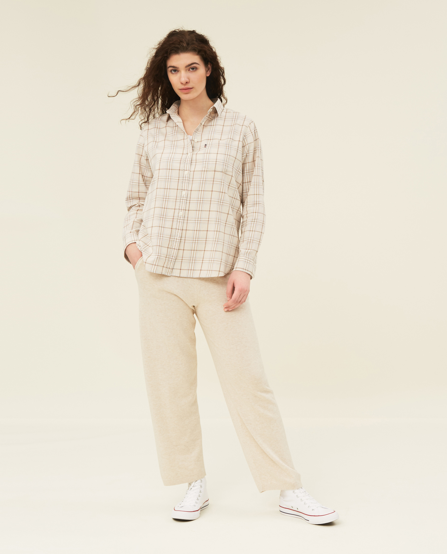 Isa Check Organic Cotton Flannel Shirt, Beige Multi