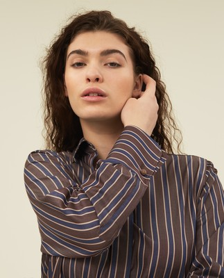 Misha Organic Cotton Shirt, Brown Multi Stripe