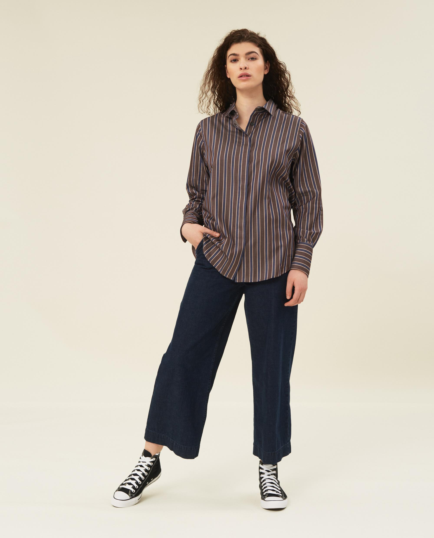 Misha Organic Cotton Shirt, Brown Multi Stripe