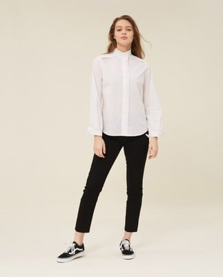 Marianne Ruffle Organic Cotton Shirt, Bright White