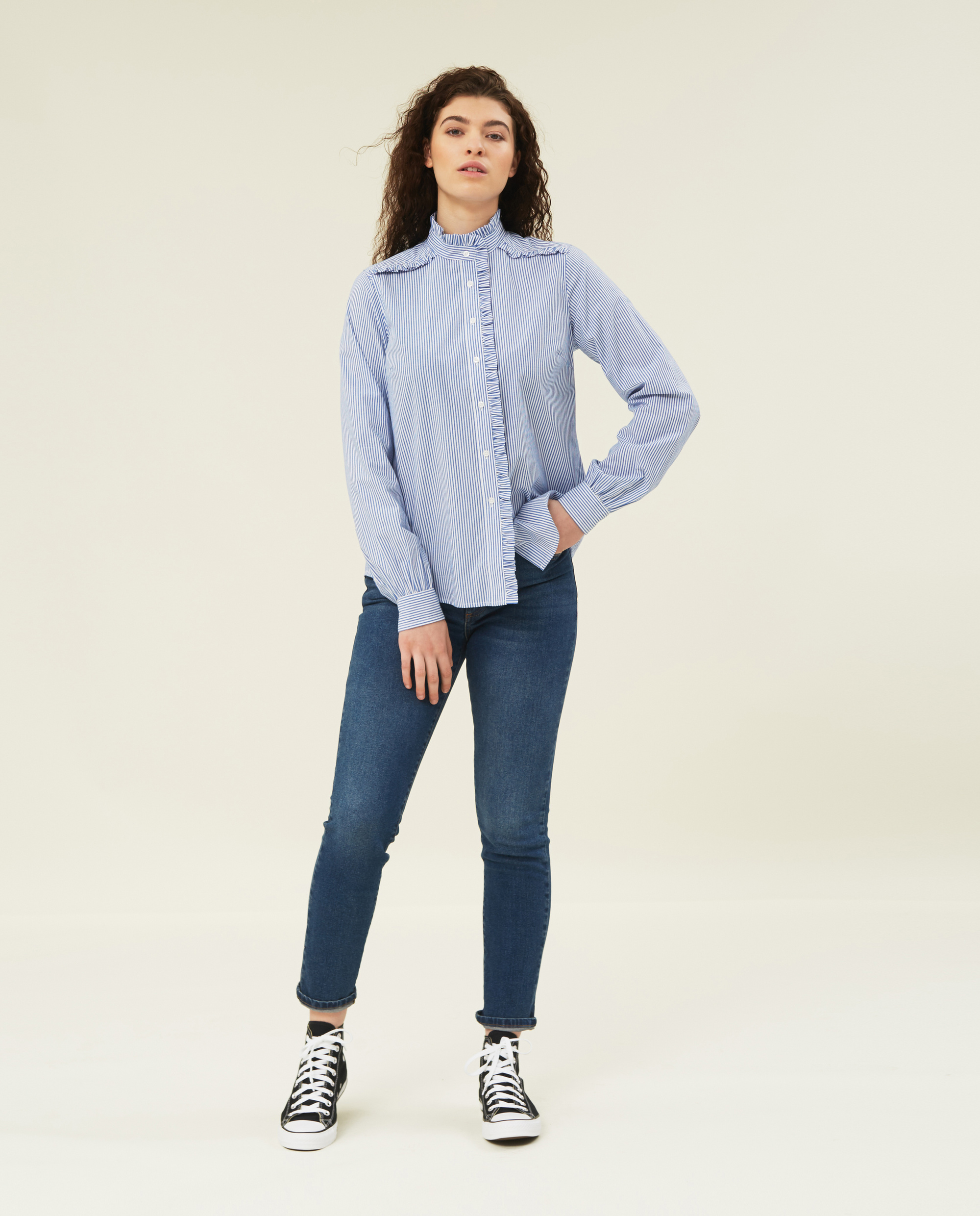 Marianne Ruffle Organic Cotton Shirt, Blue/White Stripe