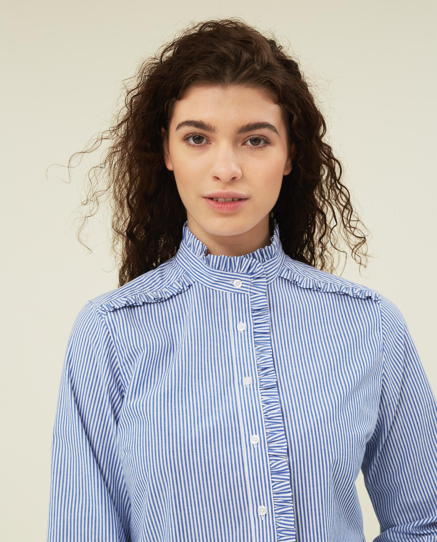 Marianne Ruffle Organic Cotton Shirt, Blue/White Stripe