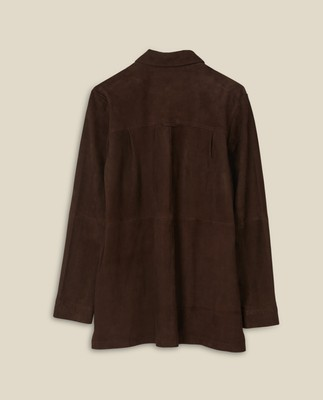 Kathy Suede Worker Shirt, Dark Brown