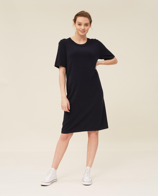 Amy Cotton/Bamboo Knitted Dress, Dark Blue