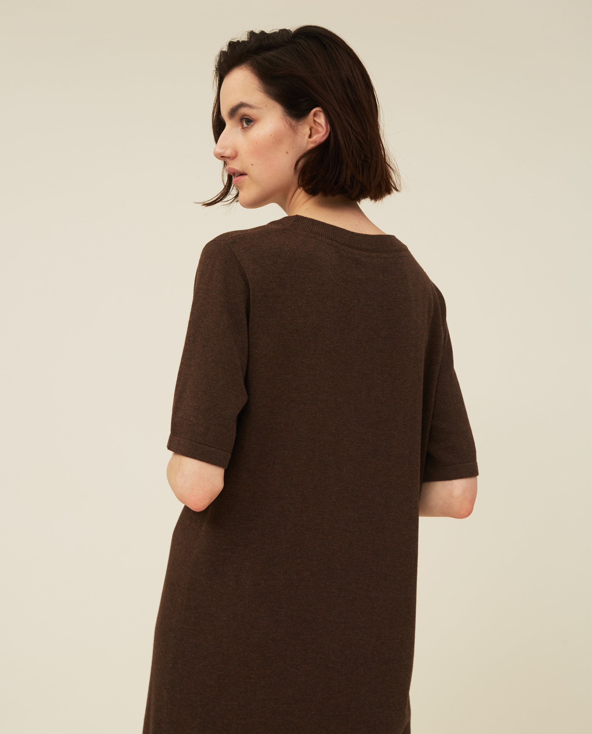Amy Cotton/Bamboo Knitted Dress, Brown