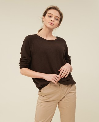 Lea Cotton/Cashmere Sweater, Brown Melange