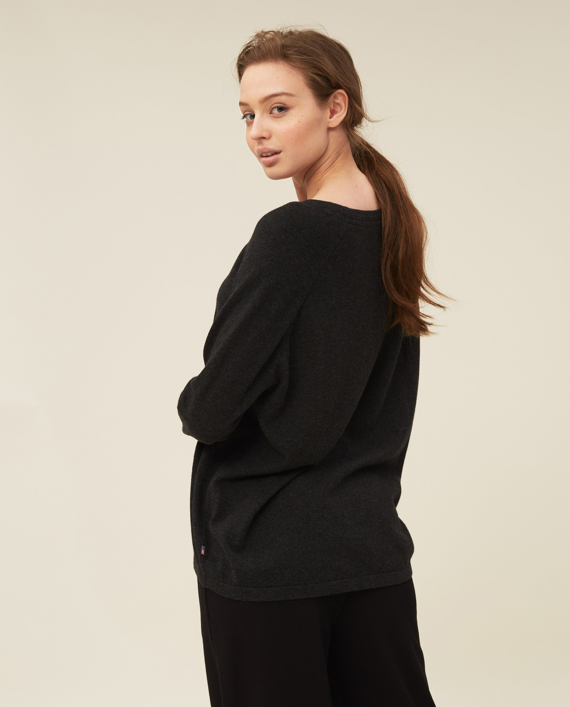 Lea Cotton/Cashmere Sweater, Dark Gray Melange