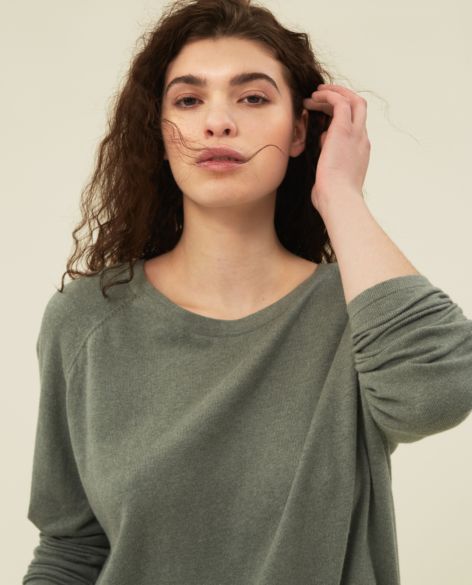 Lea Cotton/Cashmere Sweater, Green Melange