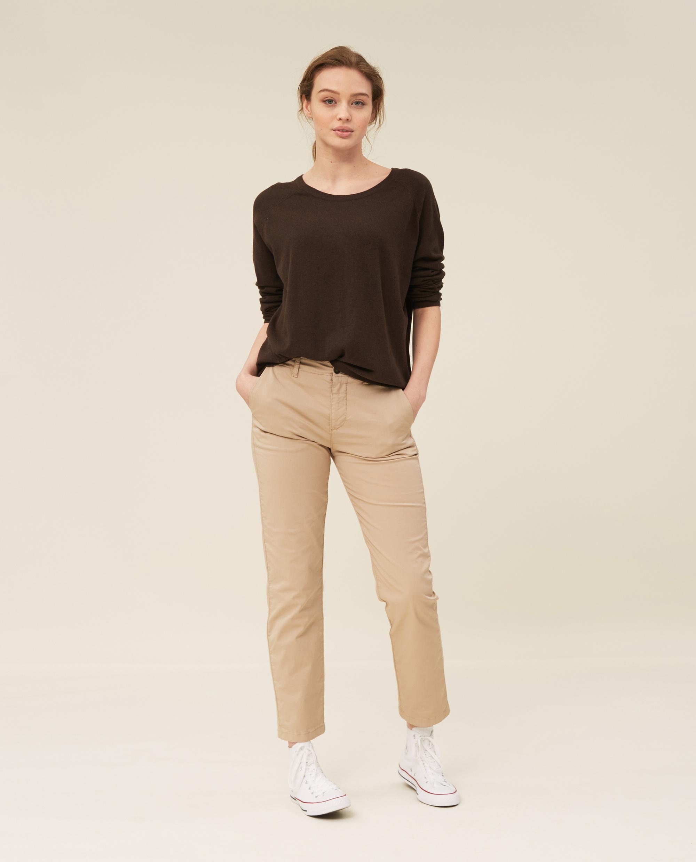 Lea Cotton/Cashmere Sweater, Brown Melange