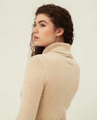 Francoise Cotton/Cashmere Roll Neck, Light Beige Melange