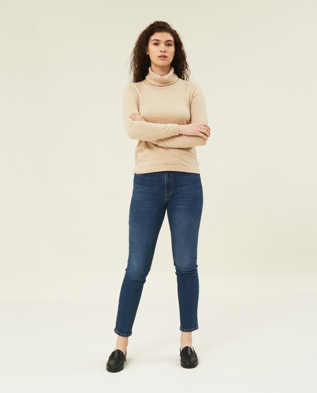 Francoise Cotton/Cashmere Roll Neck, Light Beige Melange