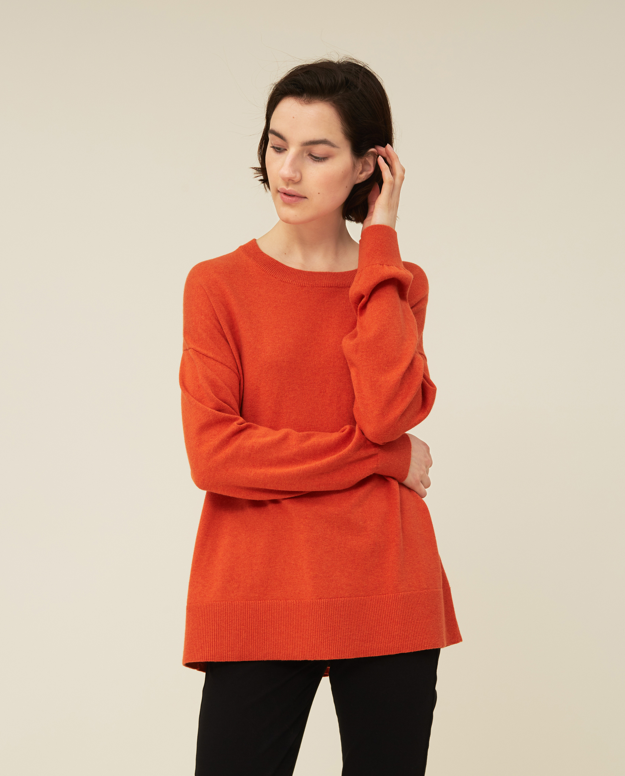 Lizzie Cotton/Cashmere Sweater, Orange Melange