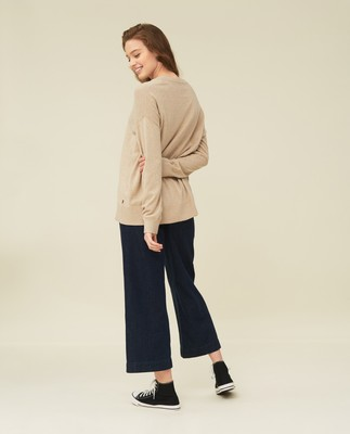 Lizzie Cotton/Cashmere Sweater, Light Beige Melange