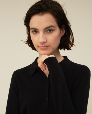 Amilia Cotton/Silk Blend Knitted Polo, Black